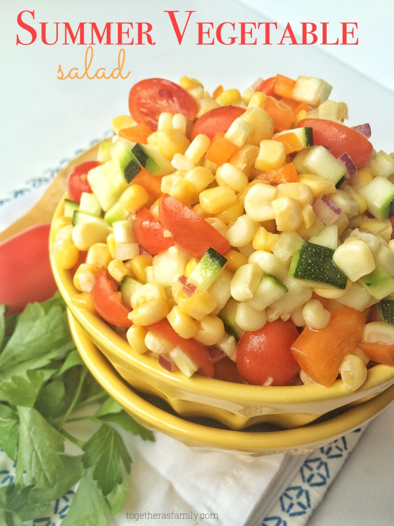 SUMMER VEGETABLE SALAD- full of flavor, fresh veggies, and it's really simple! | www.togetherasfamily.com