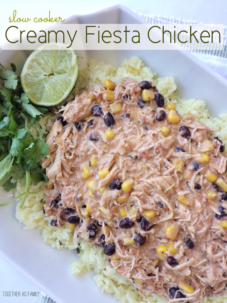 SLOW COOKER CREAMY FIESTA CHICKEN- only 5 ingredients and you have a delicious, easy, and family approved dinner!   www.togetherasfamily.com