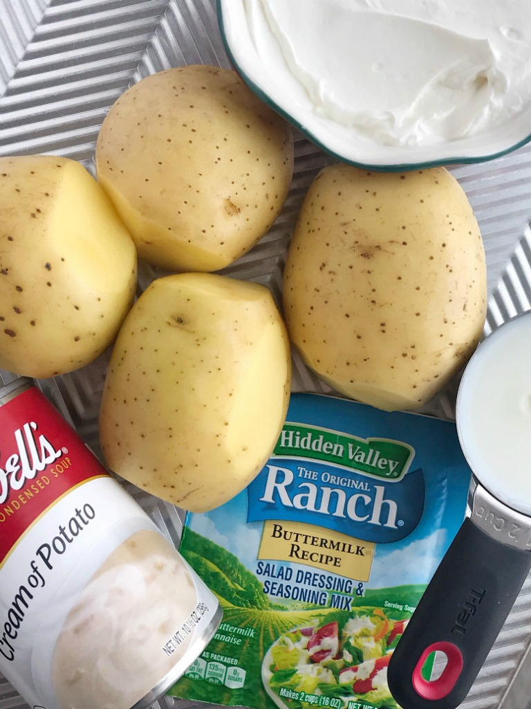 Slow Cooker Creamy Ranch Potatoes | Ranch Potatoes | Side Dish Recipe | Potato Recipe | Ranch potatoes made in the slow cooker with only a few ingredients. Tender, creamy potato chunks seasoned with ranch seasoning mix make for the perfect side dish to any dinner. #sidedish #potatorecipe #recipeoftheday #ranchpotatoes