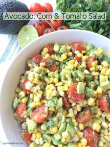 AVOCADO CORN & TOMATO SALAD- simple, fresh, light, and completely delicious and addictive | www.togetherasfamily.com