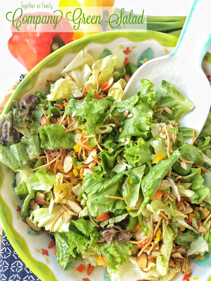 COMPANY GREEN SALAD   crisp lettuce, sugared almonds, green onion, sweet pepper, rice noodle with an easy homemade dressing! www.togetherasfamily.com