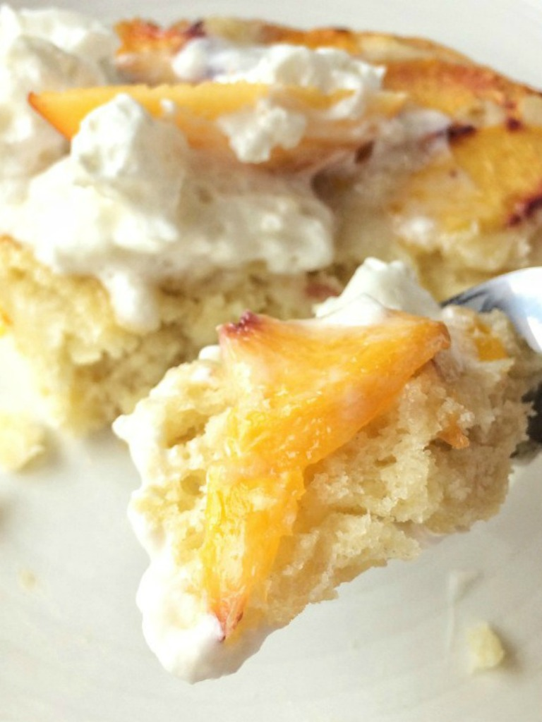 Peaches & Cream Buttermilk Cake isa sweet, light buttermilk cake filled with fresh peaches. Garnish with freshly whipped cream and you have a delicious summertime dessert that everyone will love!
