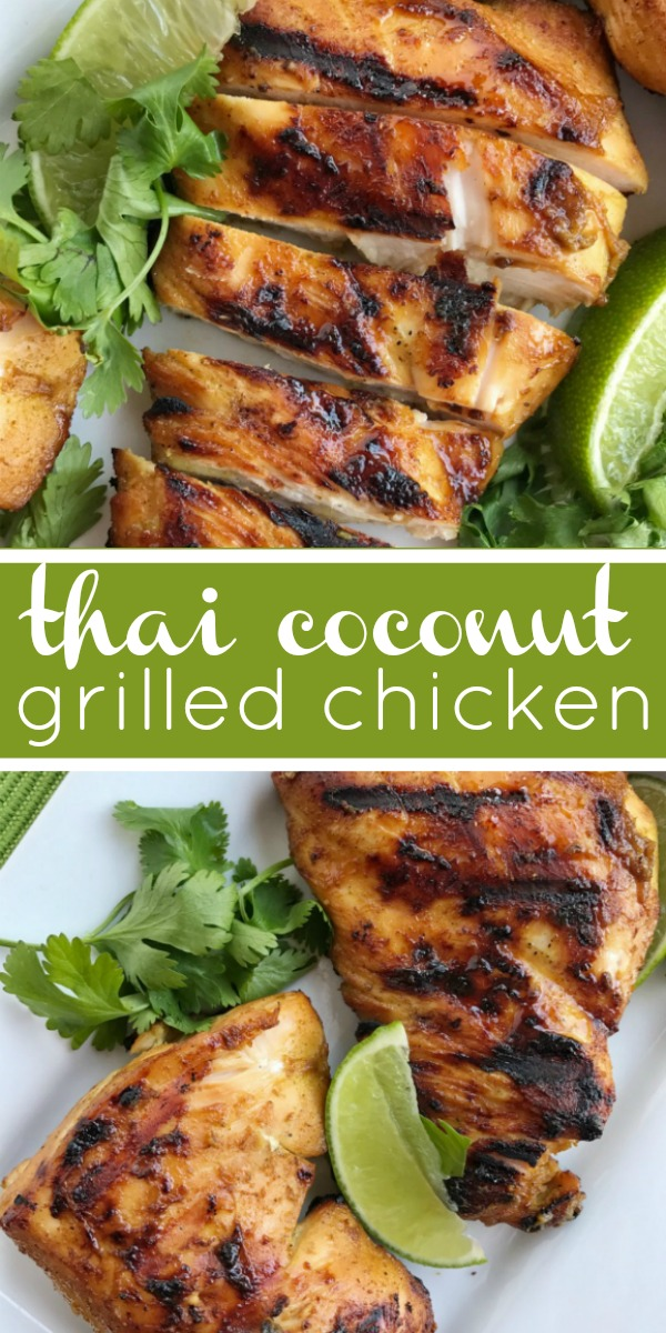 Thai Coconut Grilled Chicken | Grilled Chicken Recipes | Thai coconut chicken will be the best grilled chicken you'll make this summer! It's a must make for grilling season. Chicken marinated in coconut milk, lime, curry powder, and other spices. #grillingrecipes #chicken #grilledchicken #dinner #dinnerrecipes #recipeoftheday