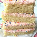 These sugar cookie bars are thick, sweet and topped with a creamy frosting! They are so yummy and completely addictive. Fun to change up the frosting color and sprinkles for different occasions!