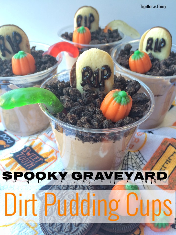 SPOOKY GRAVEYARD DIRT PUDDING CUPS | www.togetherasfamily.com