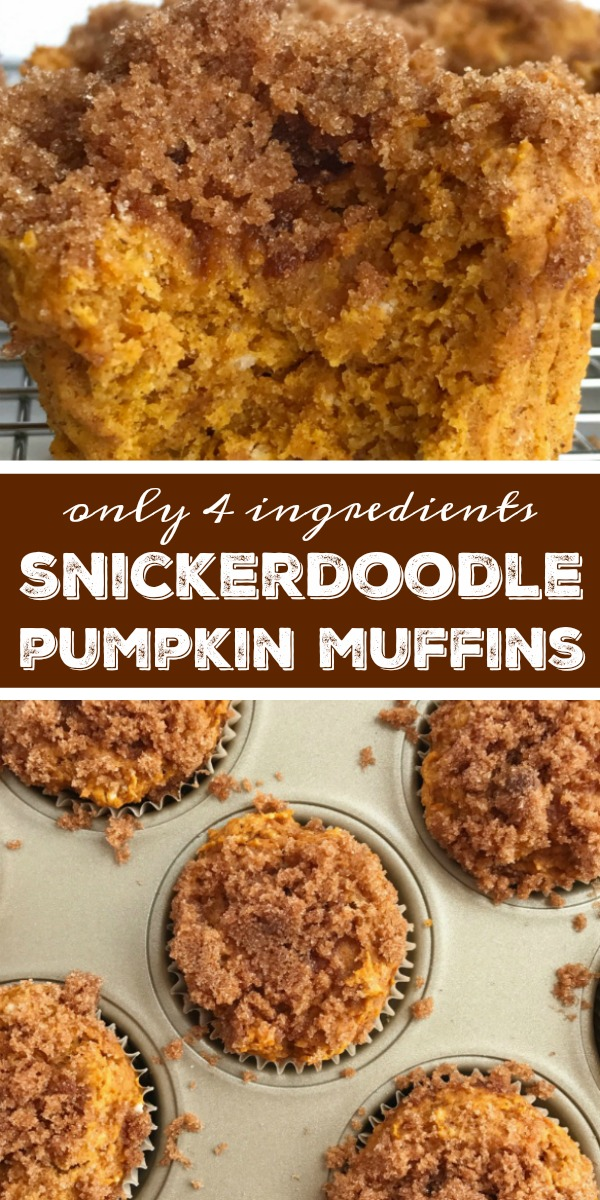 Snickerdoole Pumpkin Muffins | Pumpkin Muffin Recipe | Snickerdoodle pumpkin muffins are only 4 ingredients! No egg, oil or butter. These pumpkin muffins are moist, super soft, loaded with pumpkin flavor, and topped with cinnamon & sugar snickerdoodle topping. A doctored up cinnamon crumb cake mix, a can of pumpkin, milk, and pumpkin pie spice is all you need. #pumpkin #pumpkinmuffins #pumpkinrecipe #fallrecipes #recipeoftheday #easyrecipe
