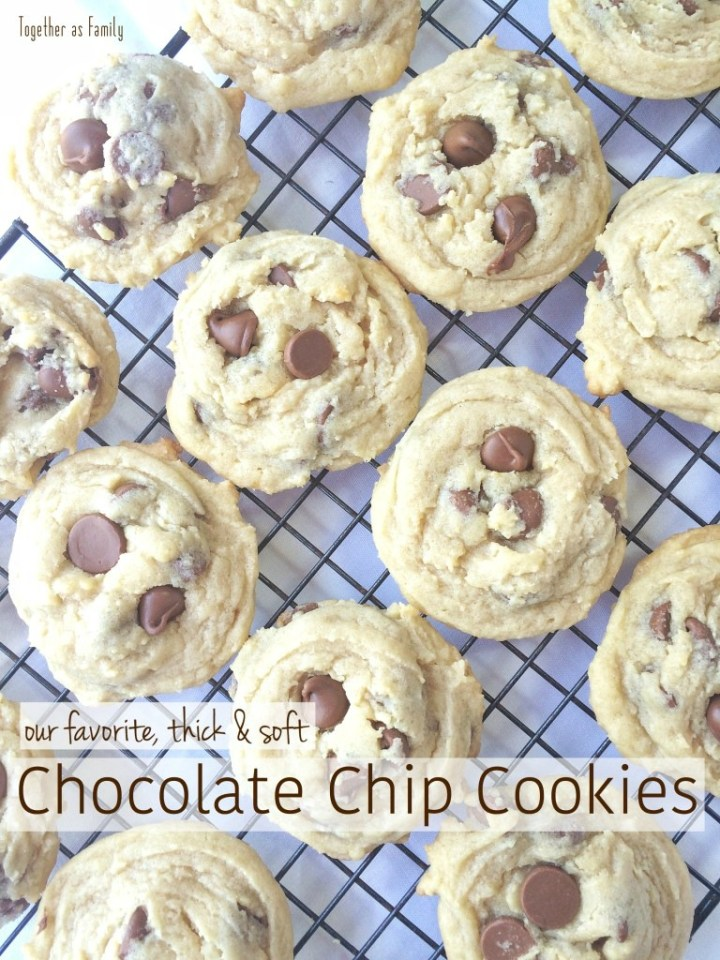 If you are a fan of thick, soft and puffy cookies then these chocolate chip cookies will be your new best friend! No flat & crispy cookies here! Hopefully our favorite chocolate chips will be yours too.