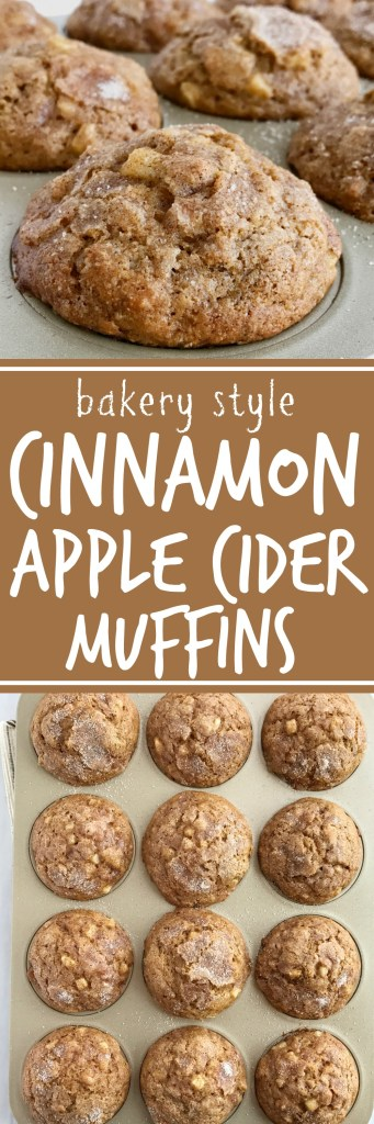 Soft cinnamon apple cider muffins loaded with chunks of apple and topped with a generous helping of cinnamon & sugar! These muffins will make your house smell amazing. These muffins are a must make recipe for Fall   www.togetherasfamily.com #muffinrecipes #applecider #cinnamonmuffinrecipes
