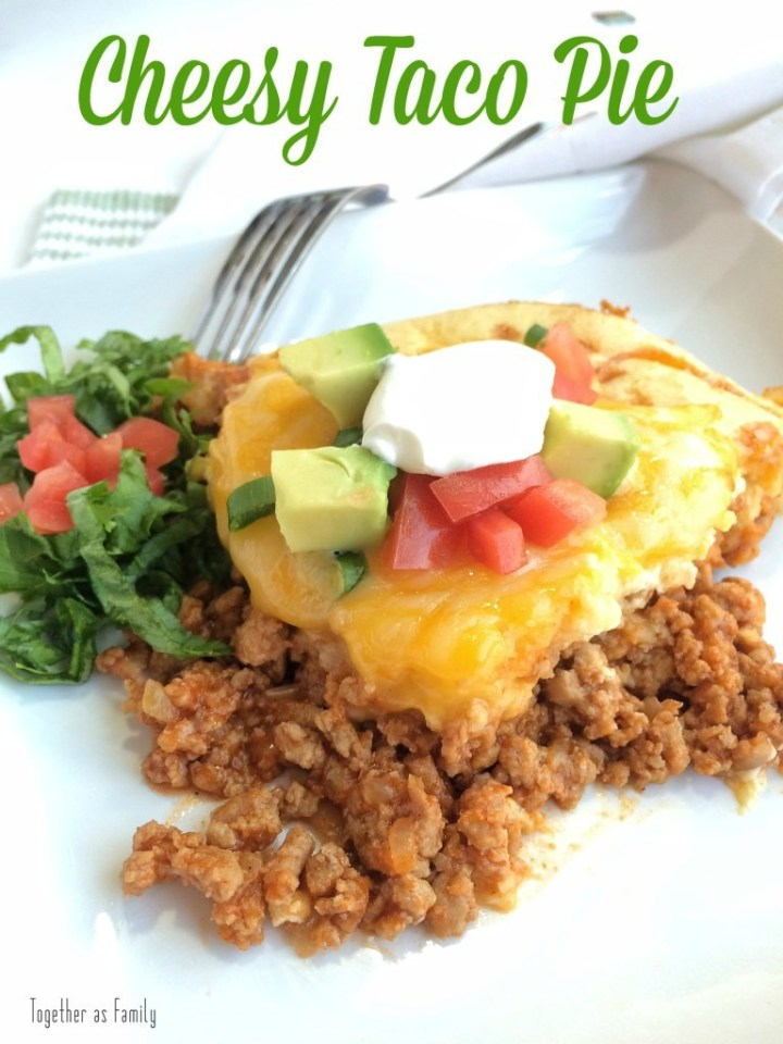Seasoned beef covered in a biscuit like topping. Tastes like a taco, but in biscuit pie form. Garnish with your favorite taco toppings and you have a fun twist for taco night!