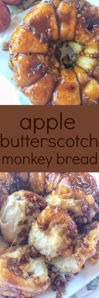 Apple Butterscotch money bread starts with frozen bread dough. Chunks of apple in a sweet sticky butterscotch pudding glaze.