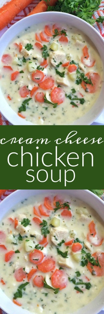A cream cheese based soup loaded with diced chicken, fresh carrots, potatoes and parsley. This cream cheese chicken soup is perfect comfort food for a cold day.