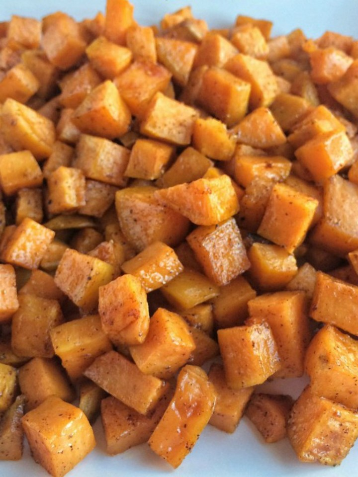 Roasted maple cinnamon sweet potatoes are a healthier side dish for dinner or Thanksgiving. Diced sweet potatoes are covered in a delicious marinade of olive oil, real maple syrup, spices, cinnamon and roasted to perfection in the oven.
