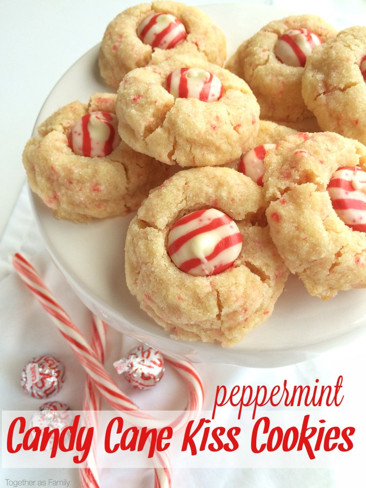 PEPPERMINT CANDY CANE KISS COOKIES | www.togetherasfamily.com