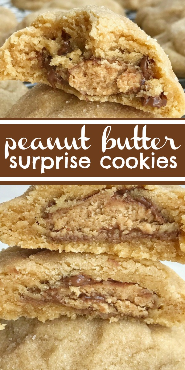 Peanut Butter Surprise Cookies | Peanut Butter Cookies | Cookie Recipe | Peanut butter cookies stuffed with a miniature Reese's peanut butter cup! These thick & soft baked peanut butter cookies are full of peanut butter flavor with a candy surprise in the middle. #peanutbutter #cookierecipe #dessertrecipe #easyrecipe #peanutbuttercookies