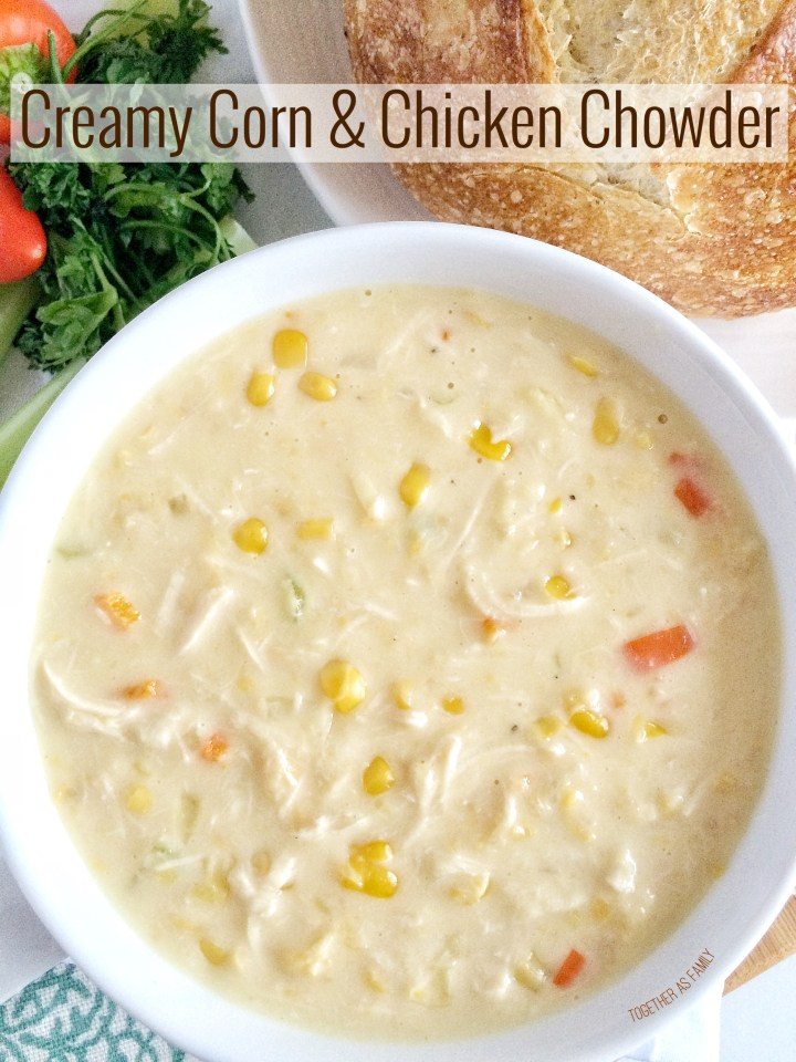 CREAMY CORN & CHICKEN CHOWDER | comes together in 20 minutes that's perfect for a busy weeknight dinner! www.togetherasfamily.com
