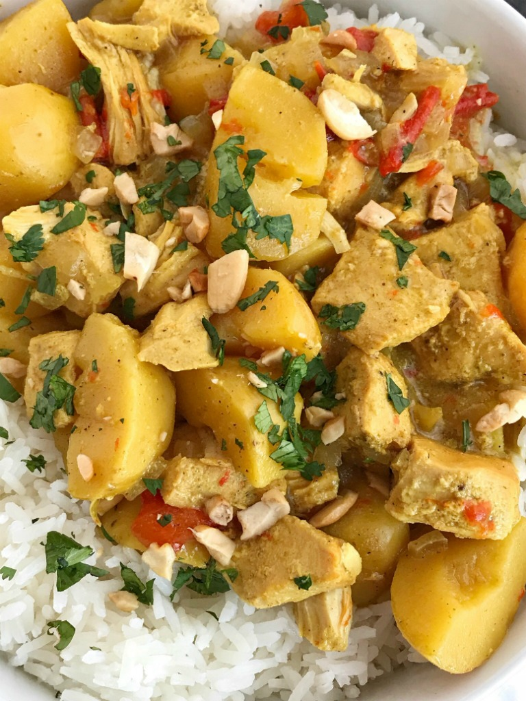 All the flavors of classic chicken coconut curry but in a easy dump-it-and-forget-about-it slow cooker chicken coconut curry recipe! Perfectly spiced, creamy coconut, tender potatoes & chicken all served over some fragrant Jasmine rice. A simple & delicious easy weeknight family dinner.
