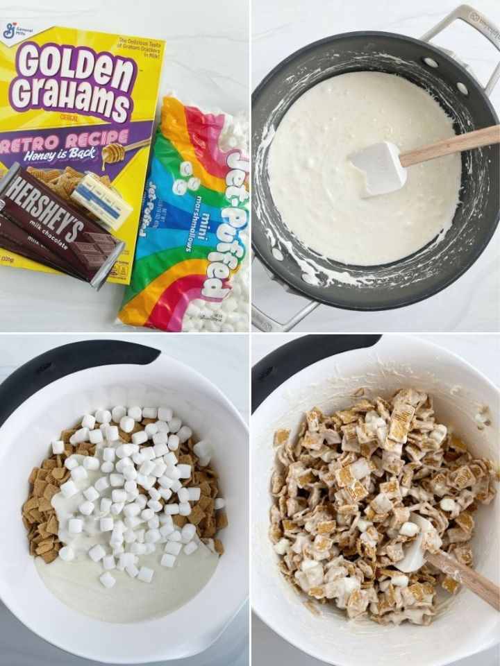 How to make s'mores Krispie treats with step-by-step picture instructions.