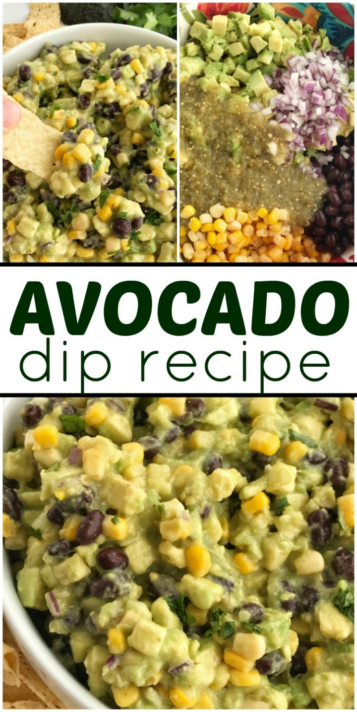 Avocado Dip | Avocado Recipe | Dip Recipe | Avocado Dip is packed full with chunky avocados, corn, black beans, red onion, and salsa verde. So easy to make you only need 5 ingredients. #partyrecipes #dips #avocadorecipes #appetizers #superbowlrecipes