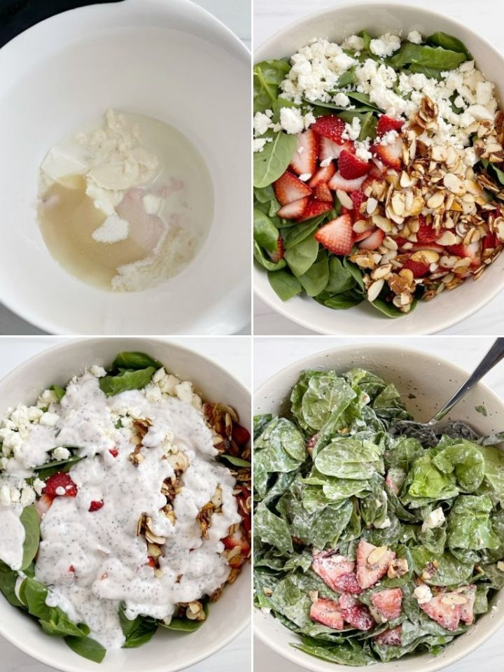 How to make strawberry spinach salad with poppy seed dressing with step by step picture instructions.