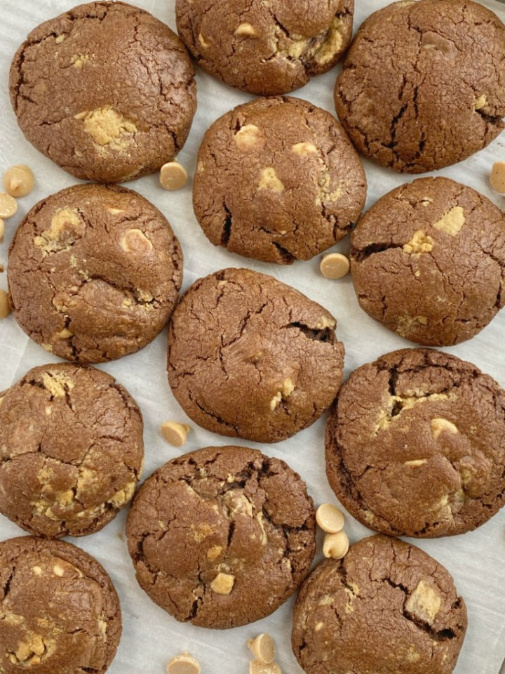 Chocolate cookie recipe with Reese's peanut butter cups and peanut butter chips.