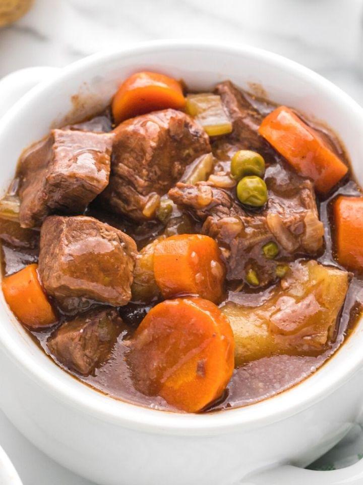 Close up shot of beef stew.