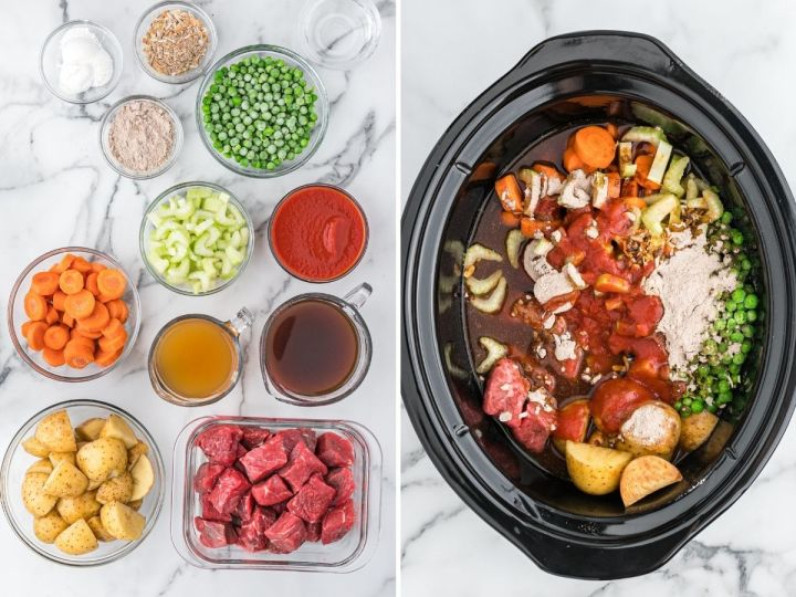 How to make stew in the slow cooker with ingredient picture and ingredients inside a slow cooker.
