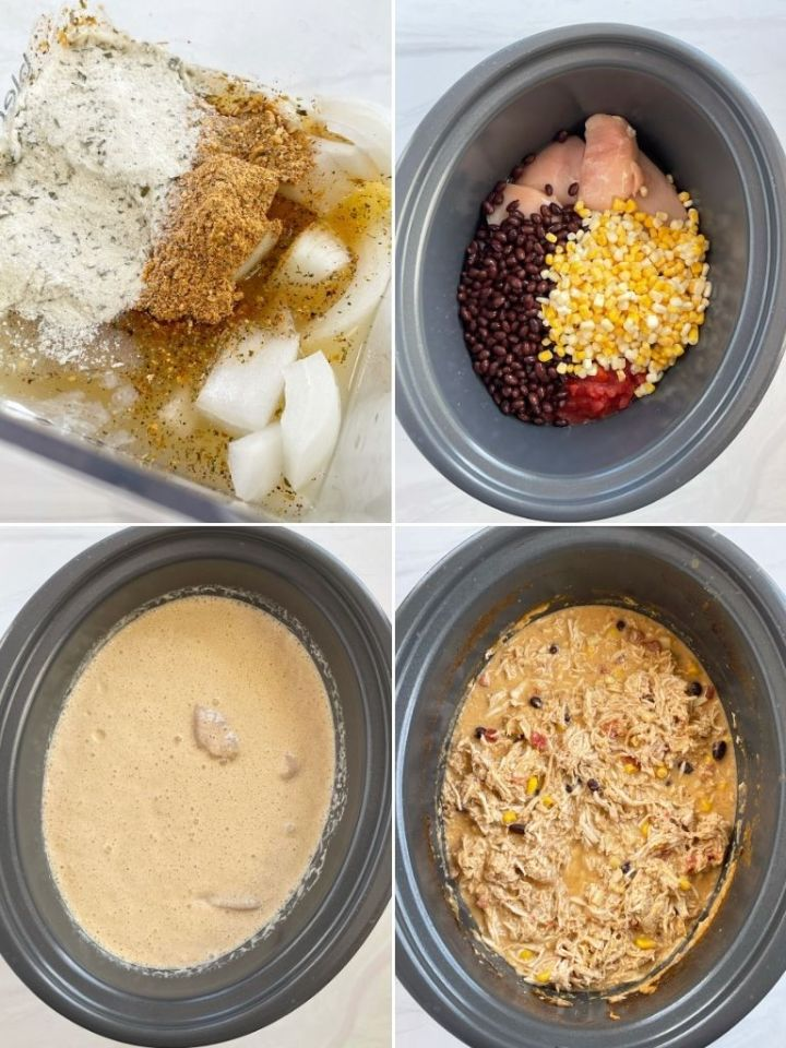 Step by step photo collage for how to make chicken Mexican Haystacks.