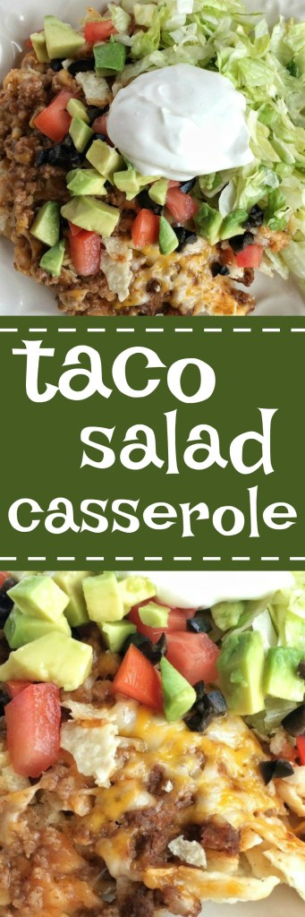 Seasoned ground beef, crushed tortilla chips, and lots of cheese make this taco salad casserole a family favorite dinner! Serve with shredded lettuce, chopped tomato, avocado, olives, and sour cream for a fun twist to a traditional taco salad.