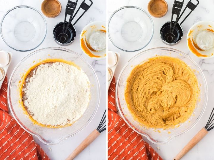 A collage with two pictures with one of a bowl with the dry ingredients and the other after is has already been mixed.