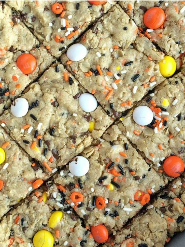 these festive candy corn mm halloween cookie bars are sure to be a hit a