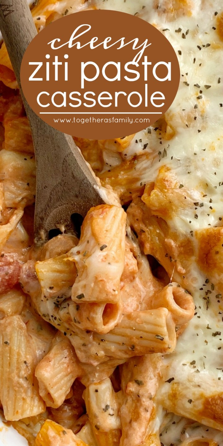 Ziti Pasta Bake | Pasta Casserole | Casserole Recipes | Pasta Recipes | Pasta Bake with ziti pasta noodles, mozzarella cheese, cream cheese, jarred spaghetti sauce, diced tomatoes, and seasonings. Comes together in just minutes and it's a quick & easy dinner that's perfect for busy weeknights. #dinner #casserolerecipes #pasta #recipeoftheday #easydinnerrecipes