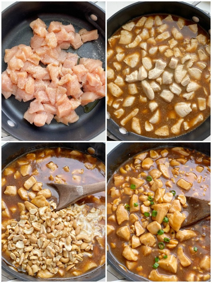 Cashew Chicken is made in a skillet on the stove top! Tender, flavorful chicken in an easy homemade sauce and loaded with cashews. This easy, one pot dinner recipe can be ready in just 30 minutes.