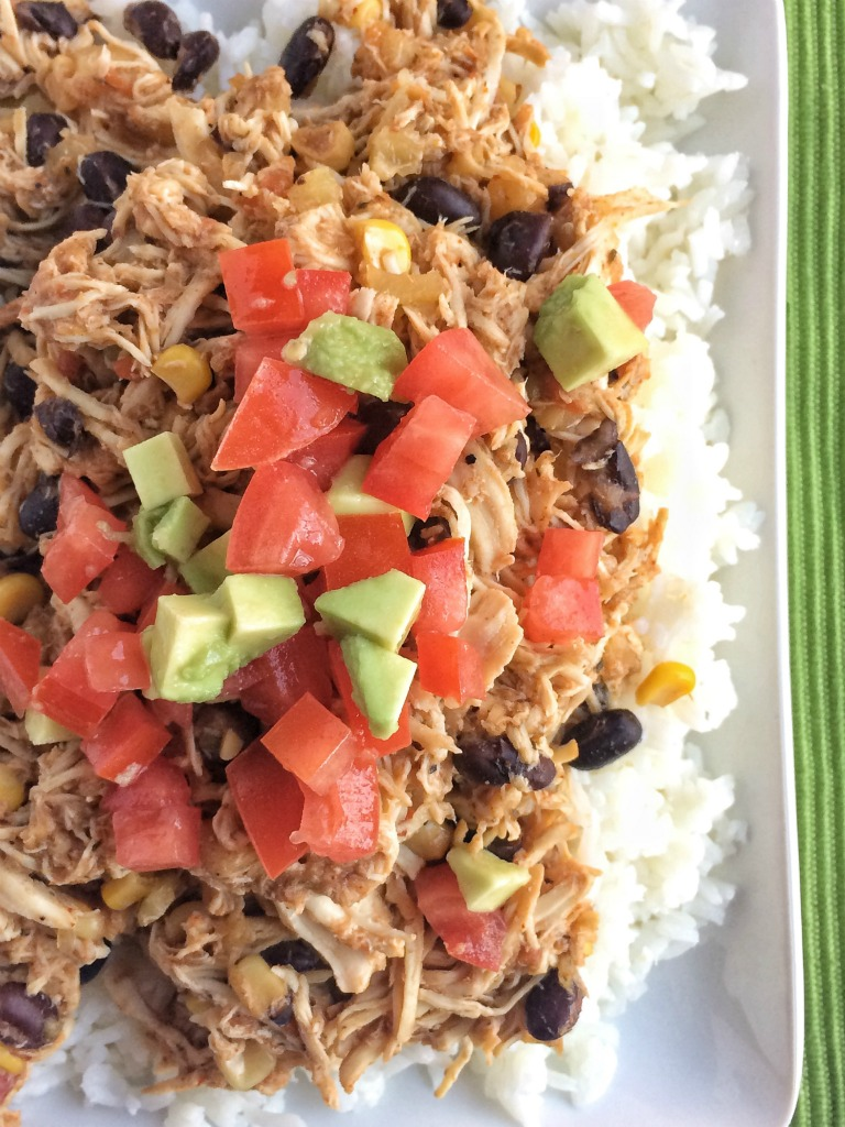 Slow Cooker Pineapple Salsa Chicken Rice Bowls