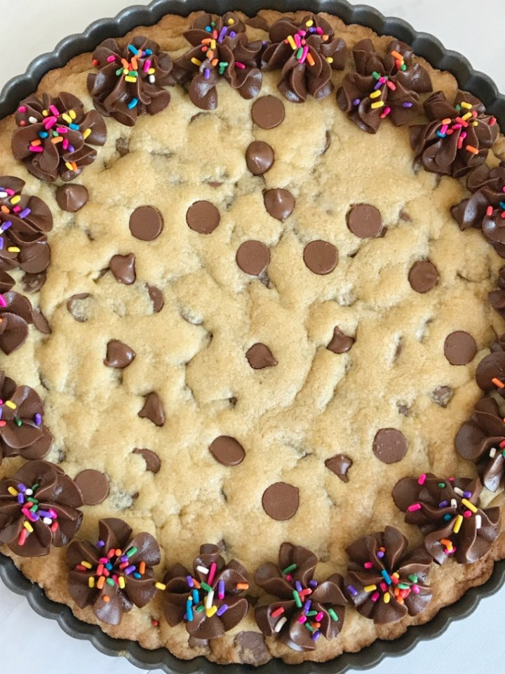 "You can't go wrong with a giant chocolate chip cookie! A 12"" giant chocolate chip cookie that is fun for a sweet treat, to celebrate any Holiday or special occasion, or even a birthday. My kids request this for their birthday cake instead of cake!"