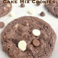 Cookies made fast and easy with a cake mix. Three kinds of chocolate; chocolate cookie, milk, chocolate, and white chocolate.