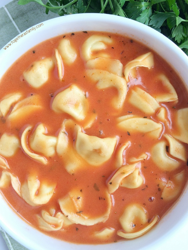 tomato tortellini soup together as family