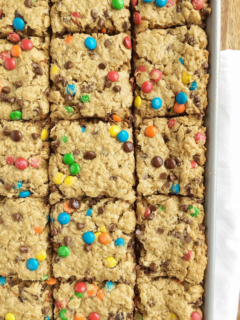 No Flour Monster Cookie Bars - Together as Family