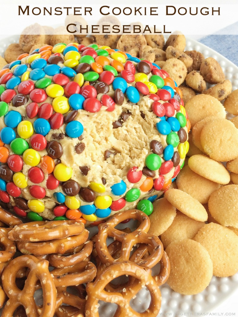 Monster cookie dough cheeseball dip has no eggs and no flour! Everything you love about monster cookies; oats, peanut butter, chocolate chips, and m&m's but in a fun and tasty cheeseball. Serve with pretzels, graham crackers, and cookies.