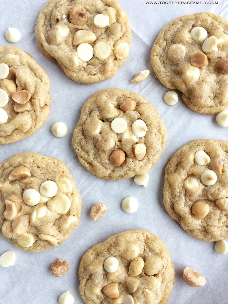 Soft baked white chocolate macadamia nut pudding cookies. Stay soft for days thanks to the pudding mix inside. Recipe from Together as Family.