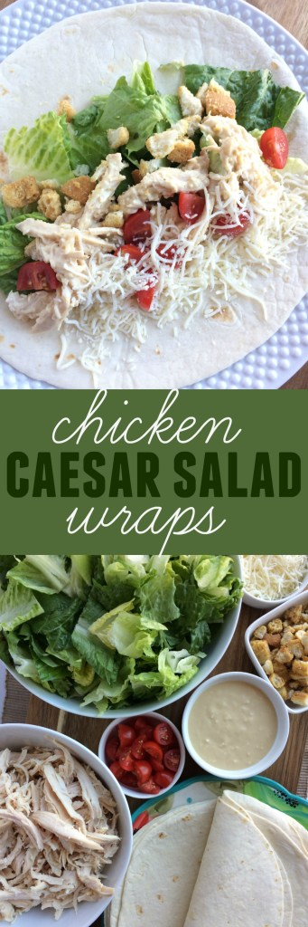 An easy, no oven dinner recipe. Uses a rotisserie chicken and an easy homemade caesar salad dressing. Chicken caesar slalad wraps are so delicious!