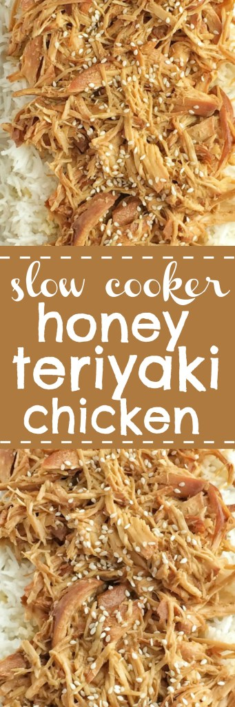 Slow cooker honey teriyaki chicken is a family favorite dinner. Only a few ingredients for a homemade honey teriyaki sauce and some chicken is all you need! The chicken is so tender thanks to the long cook time in the slow cooker. Serve over cooked rice and drizzle with additional teriyaki sauce | www.togetherasfamily.com #slowcookerrecipes #crockpot #chickenrecipes #asianfoodrecipes