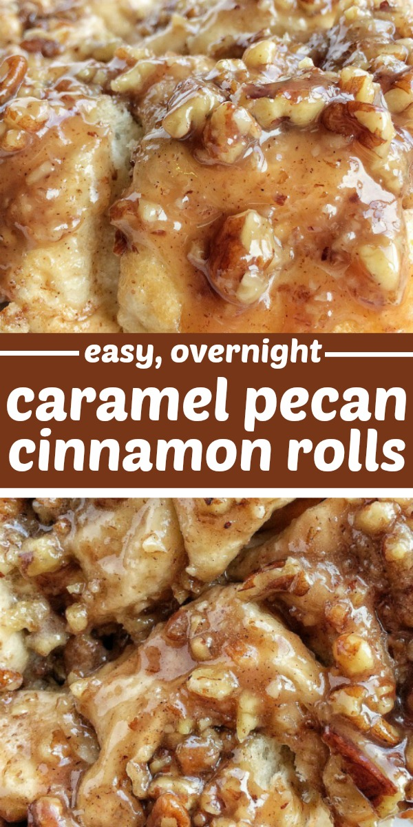 No Yeast Overnight Caramel Pecan Cinnamon Rolls | Overnight Cinnamon Rolls | No Yeast Cinnamon Rolls | Caramel | These easy overnight caramel pecan cinnamon rolls start with frozen bread dough! No yeast or rising to worry about. Simply prepare the cinnamon rolls the night before and bake up delicious, gooey, caramel pecan cinnamon rolls for a special breakfast treat. #cinnamonrolls #overnightcinnamonrolls #breakfast #breakfastrecipe