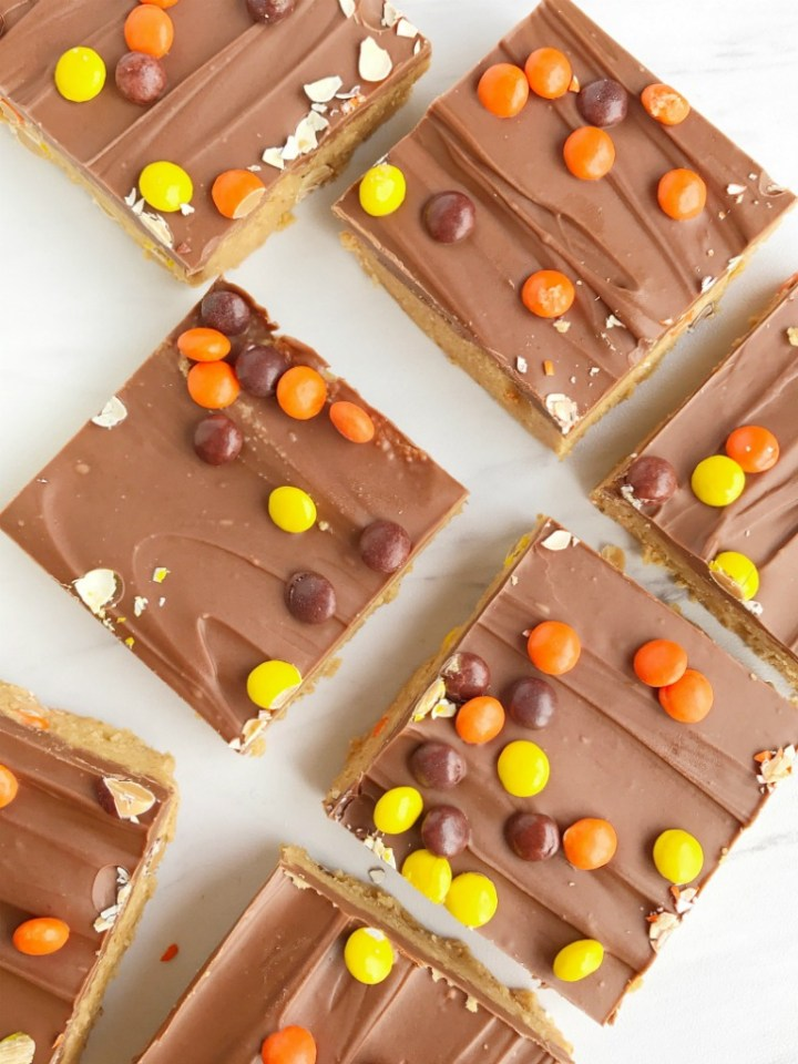No Bake Reese S Pieces Peanut Butter Bars Together As