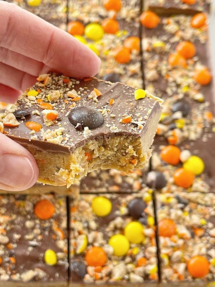 Peanut butter bars with Reese's candy!