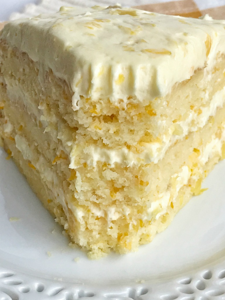 Cake With Crushed Pineapple And Pudding