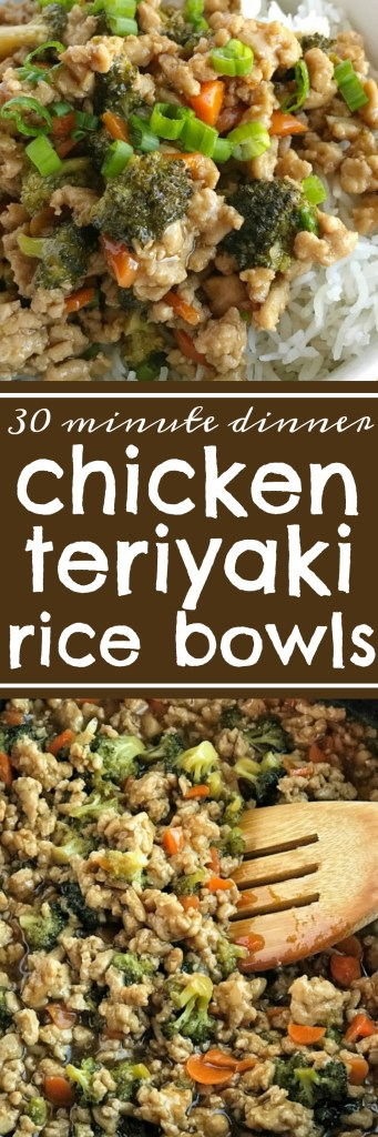 Teriyaki chicken rice bowls take 30 minutes to make and are perfect for a busy weeknight dinner. Ground chicken, broccoli, and carrots simmer on the stove top in a delicious and super simple teriyaki sauce. Serve over rice and garnish with green onions! Dinnerwill beso yummy.