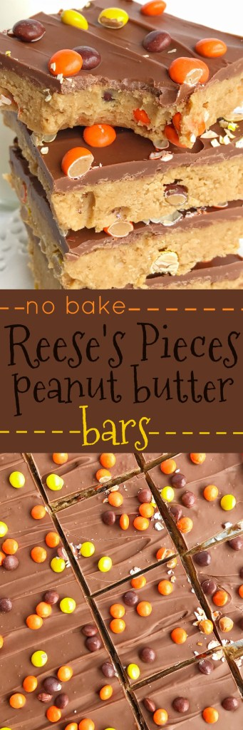 Reese's Pieces Peanut Butter Bars are an easy, no bake treat that is loaded with chocolate and peanut butter. They taste exactly like a Reese's! Add in some mini reese's pieces for the ultimate chocolate & peanut butter dessert.