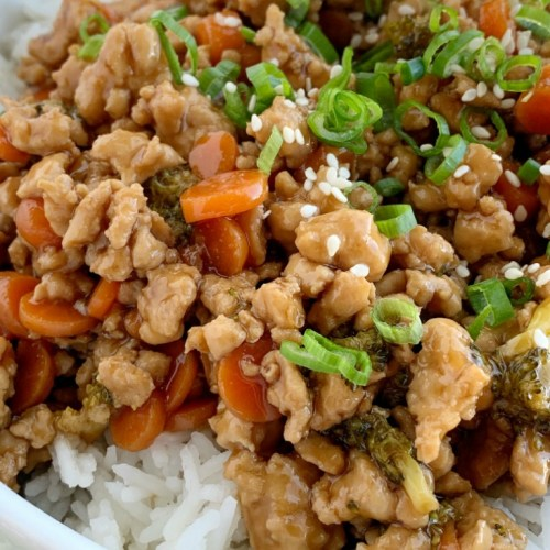 Teriyaki Chicken Rice Bowls Together As Family