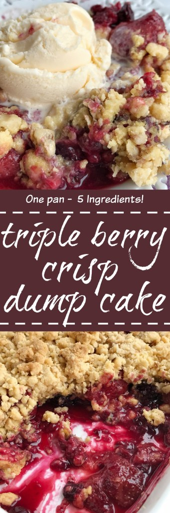 Berry crisp dump cake is only 5 ingredients and one pan! Juicy mixed berries covered in an easy cake mix, oatmeal, walnut, and melted butter mixture. Serve warm with a scoop of vanilla ice cream for a delicious dessert.
