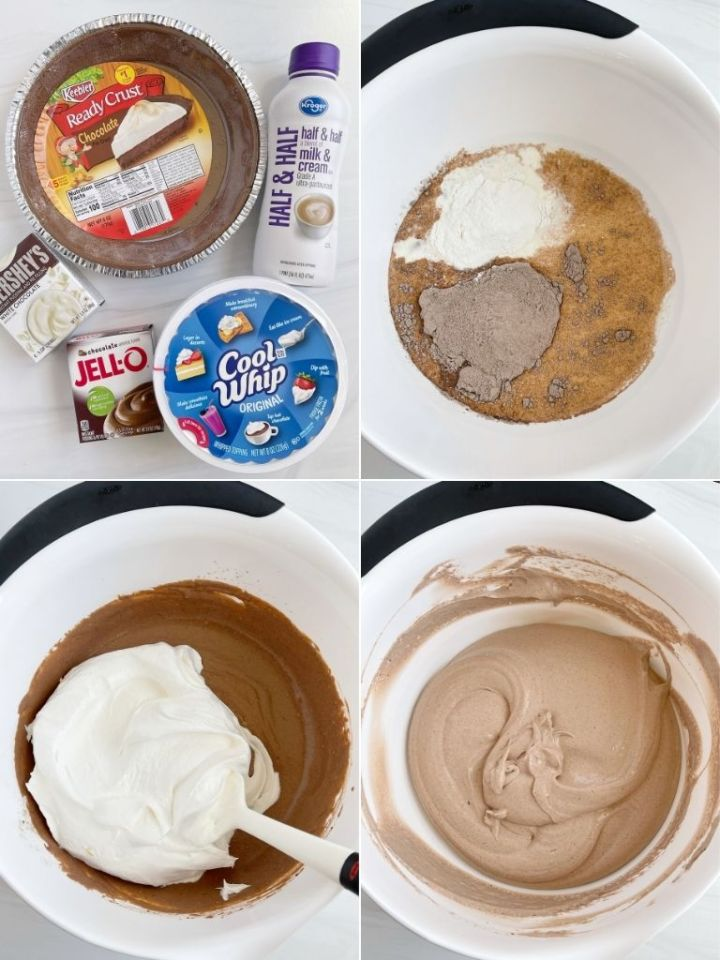 Step-by-step photo instructions and ingredients needed to make double chocolate cream pie.
